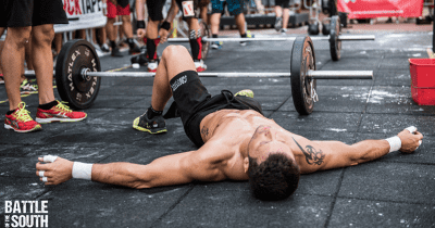 male crossfit athlete exhausted after Ben bergeron crossfit wod