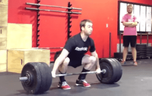 Ben Smith performing a 1RM Snatch at 300lbs