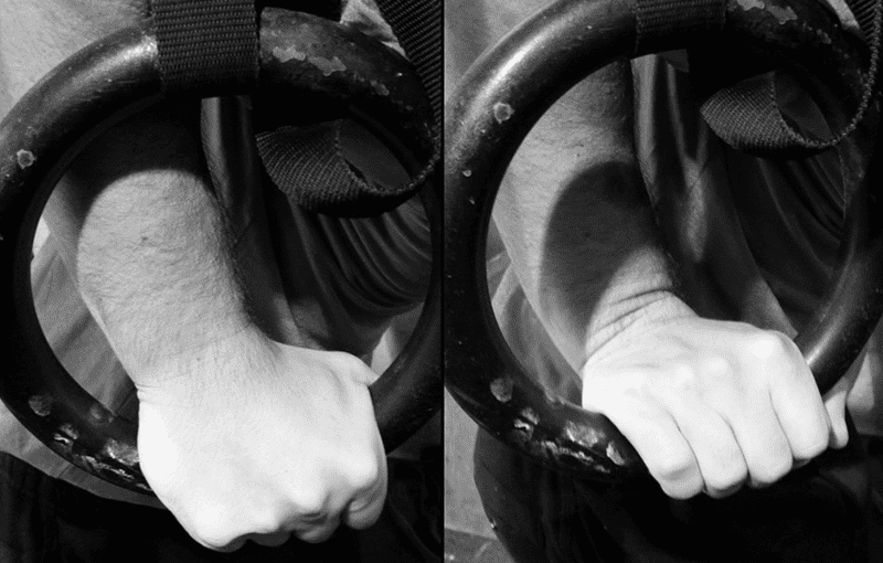 LEFT: Full false grip RIGHT: Pseudo false grip