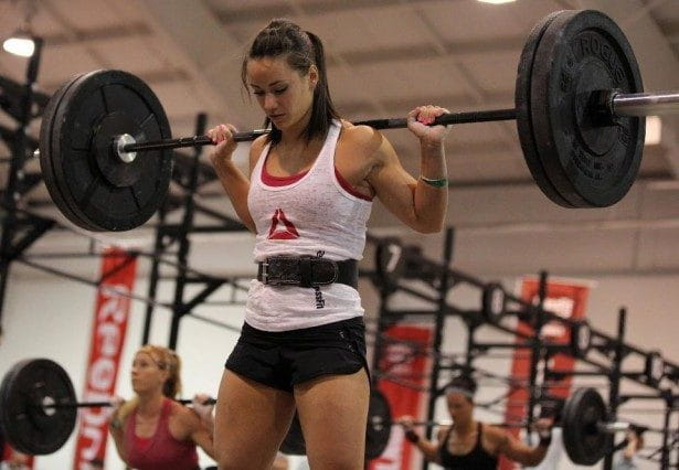 Camille Leblanc-Bazinet working on her squats