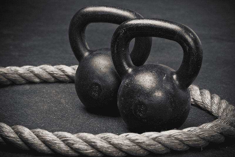 kettlebell and rope
