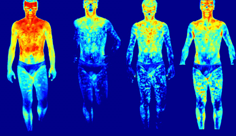 Caption Thermal Infared Imaging: the false colours scheme displays the changing body temperature during warm up exercises