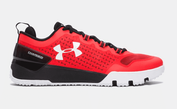 Under Armour Charged Ultimate in red side shot