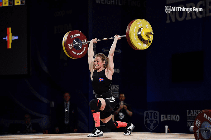 Thuridur Erla Helgadottir weightlifter clean and jerk
