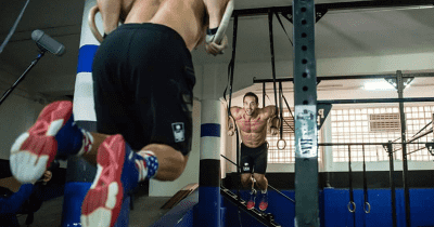 boxes in madrid Rich Froning and Dan Bailey ring muscle ups at crossfit bellum