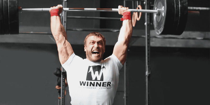 Dmitry Klokov with a Split Jerk Barbell lift