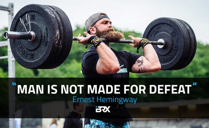 crossfit quote cards male crossfit athlete with beard barbell jerk