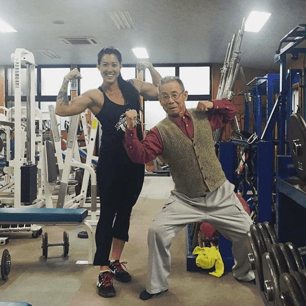 Sarah loogman californian regionals athlete and her Grandpa flexing