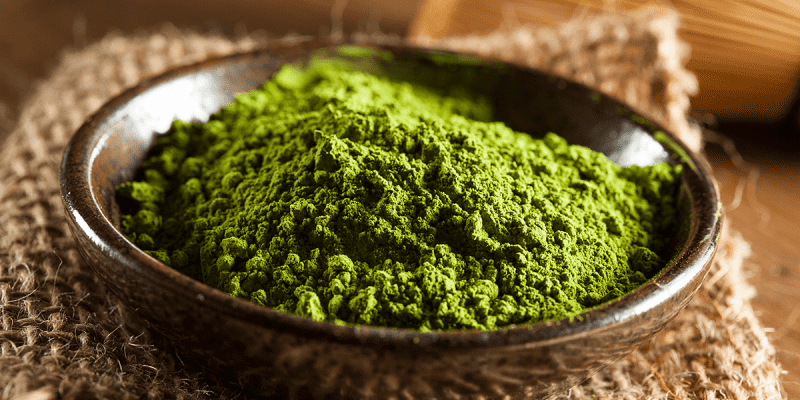 Superfoods Matcha tea powder in a bowl