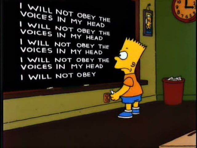 Bart simpson lines on chalk board