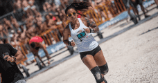 female crossfit athlete run bodyweight wods