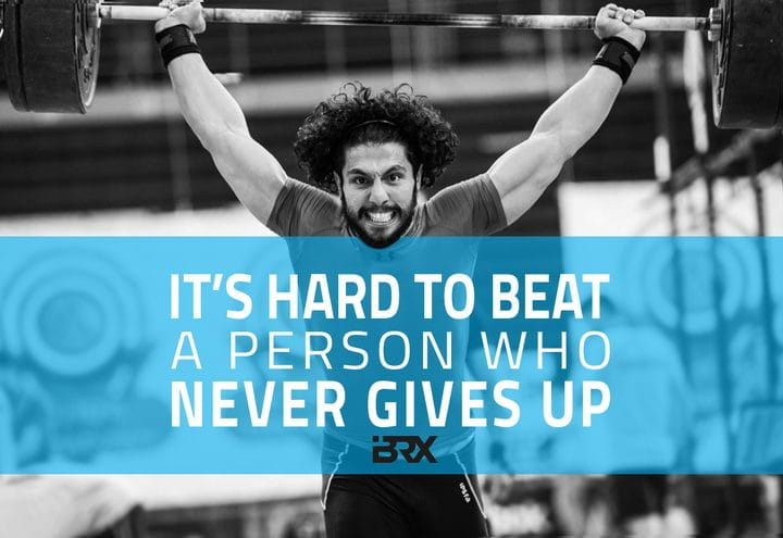 crossfit quotes male athlete with barbell