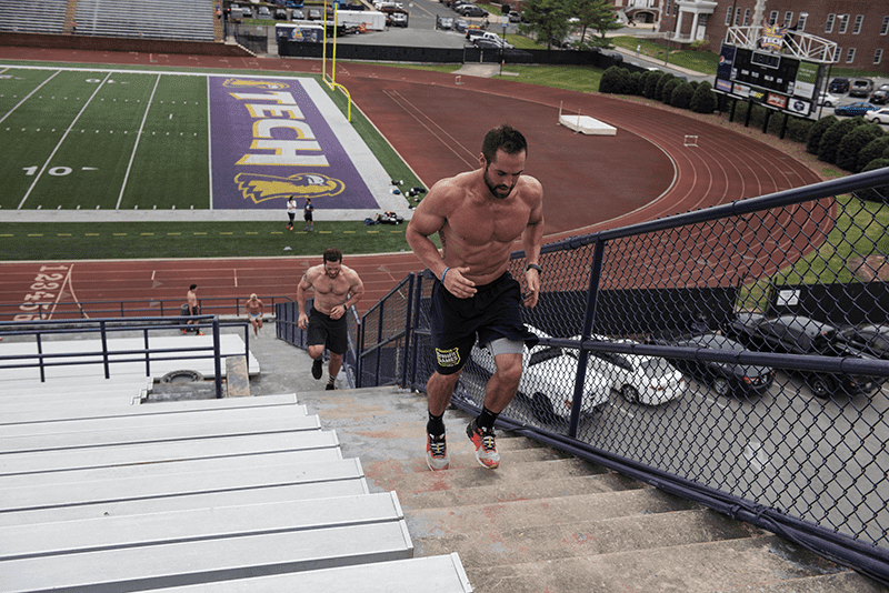 rich froning crossfit athlete mobility stair sprints