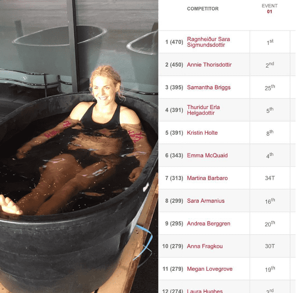 andrea berggren ice bath at meridian regionals