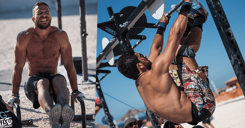 male crossfitters l sit toes to bar crossfit wod building solid core