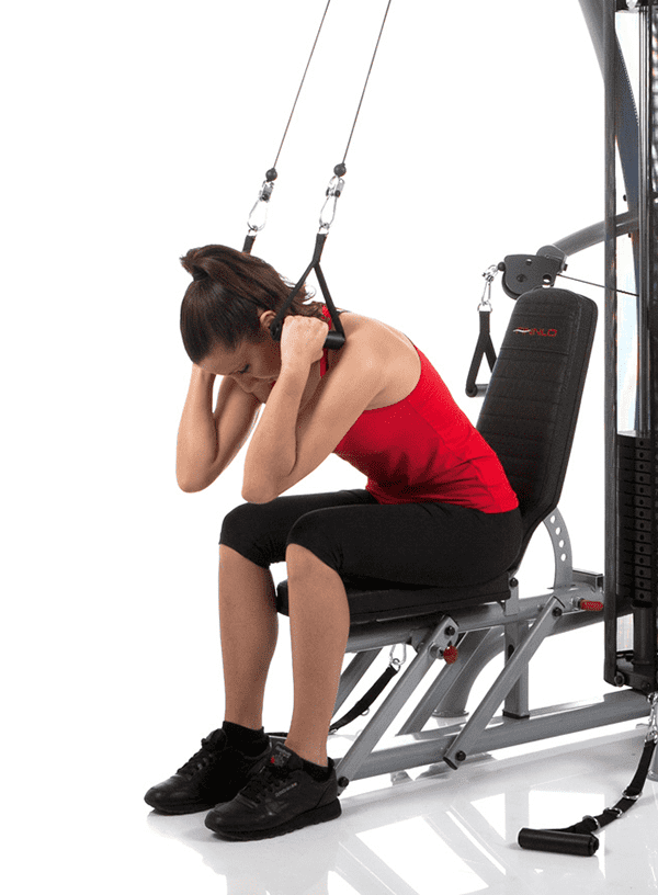 seated crunch cable exercise