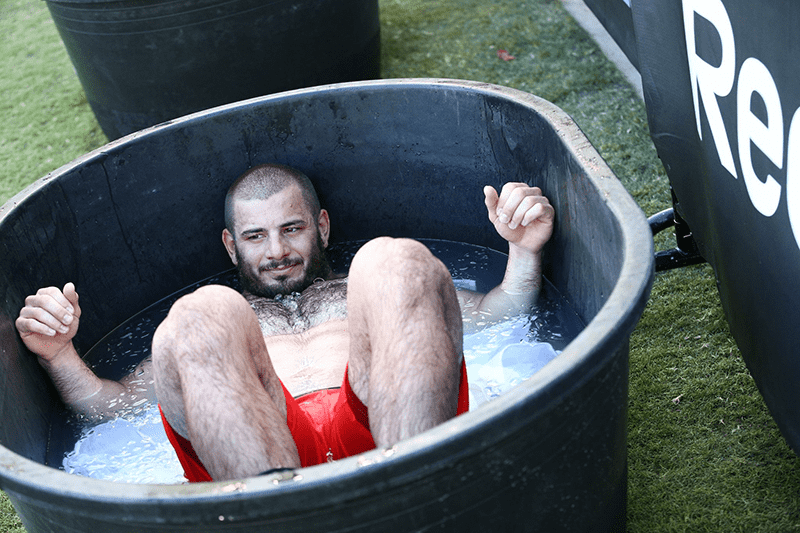 mat fraser ice bath crossfit games photographs