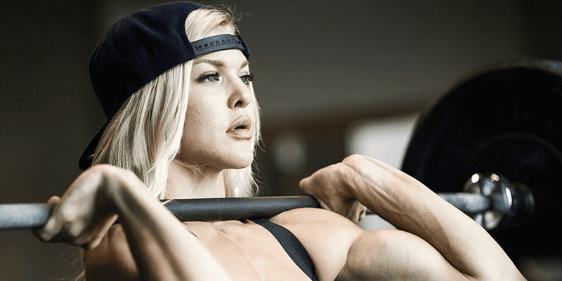 Brooke ence crossfit athlete with cap and barbell