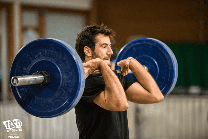 crossfit athlete male barbell clean