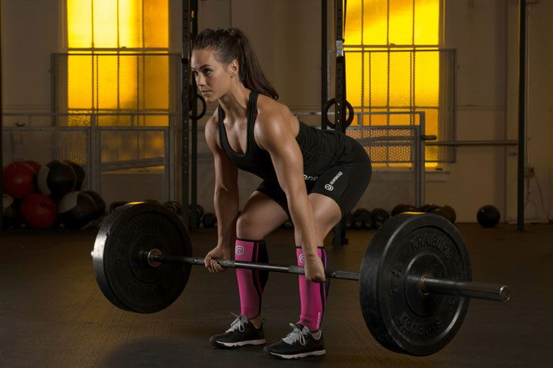 crossfit athlete Camille Leblanc-Bazinet training core strength with deadlifts