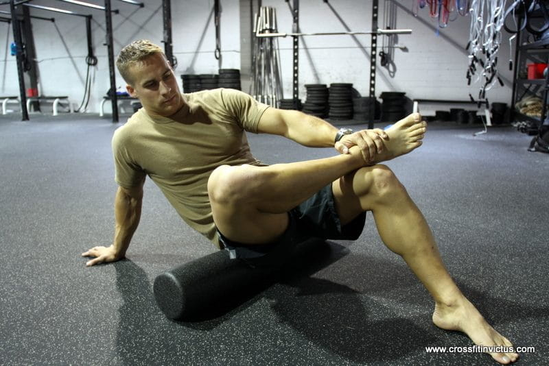 crossfit invictus athlete foam rolling