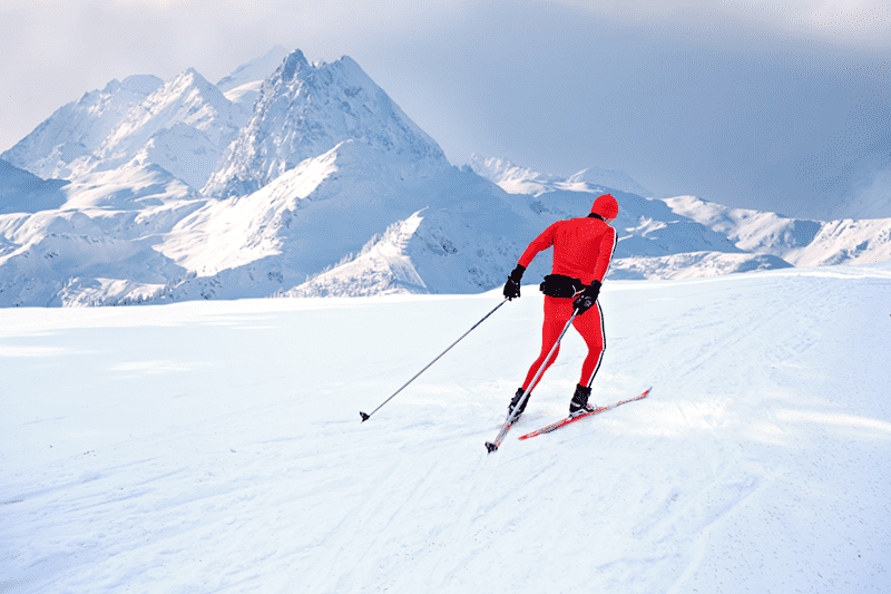 nordic skiing expand vo2 max mountain backdrop