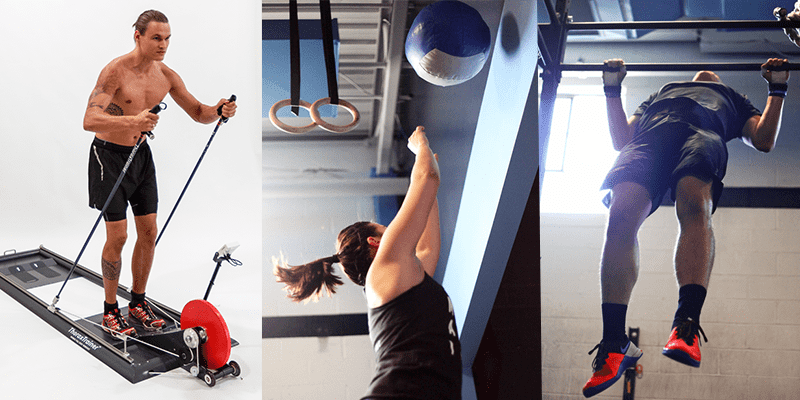Crossfit athletes perform wall balls, thoraxtrainer and pull ups increase vo2 max