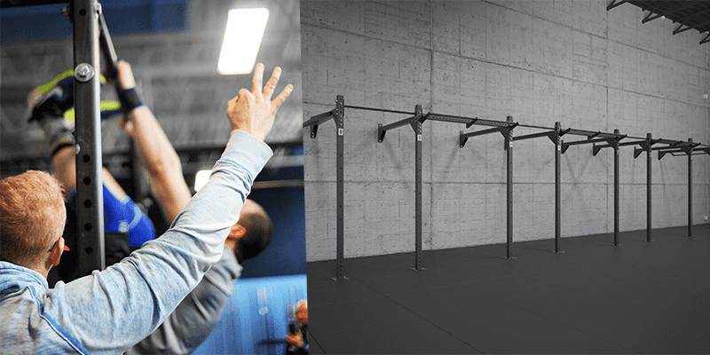 male crossfit athlete toes to bar