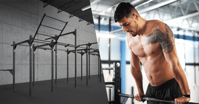 Build your box athlete performs muscle up on rig