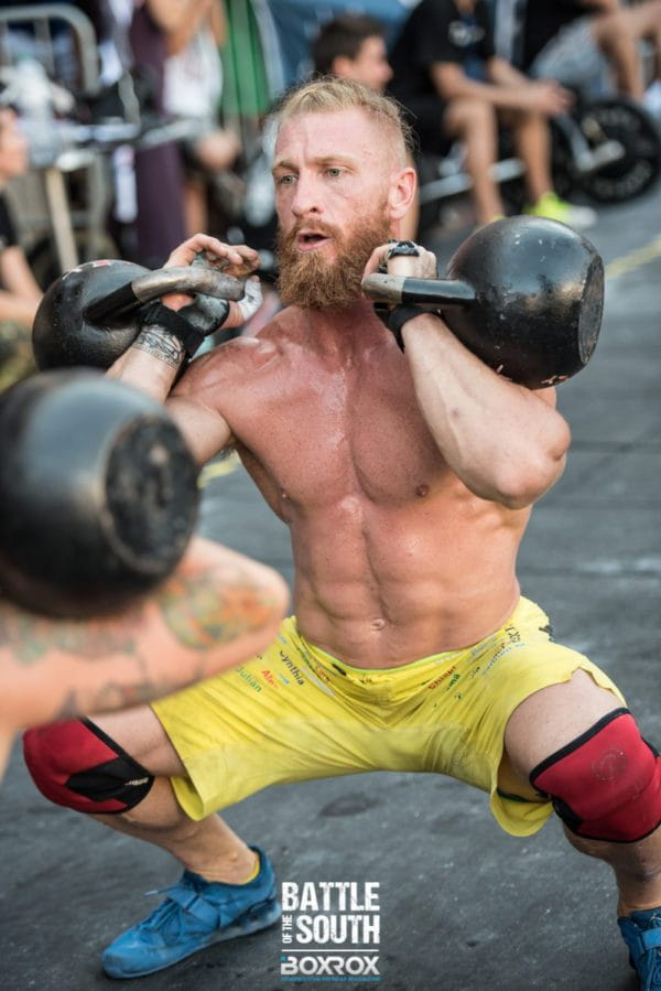crossfit training by male athlete with kettlebells