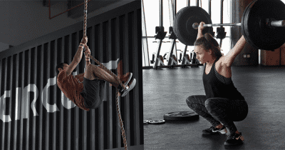 crossfit in wait female snatch lift male rope climb
