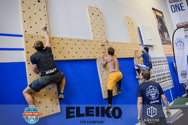 Oresund Games peg board climbs by crossfit athletes