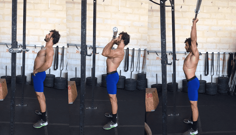 overhead press by crossfit athlete