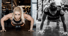 two crossfit girls push up exercise