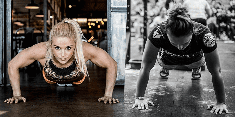 two crossfit girls press up exercise