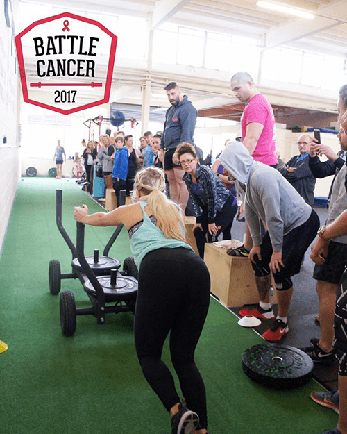 battle cancer 2017 event sled push