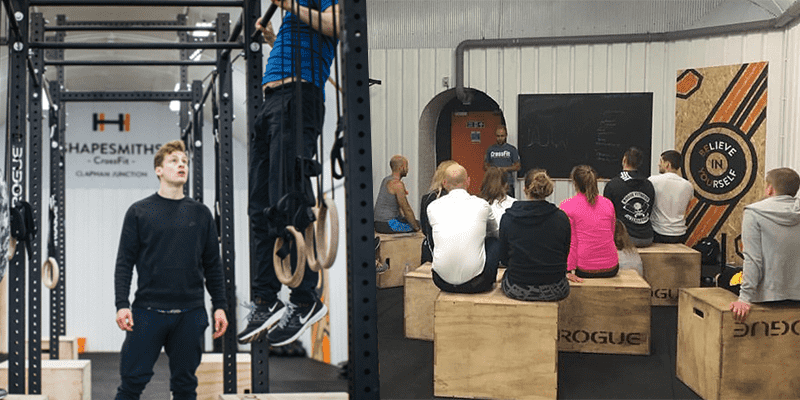 crossfit coaches teaching in shapesmiths crossfit box