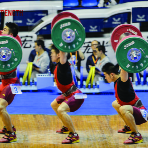 squat jerk by chinese olympic weightlifter