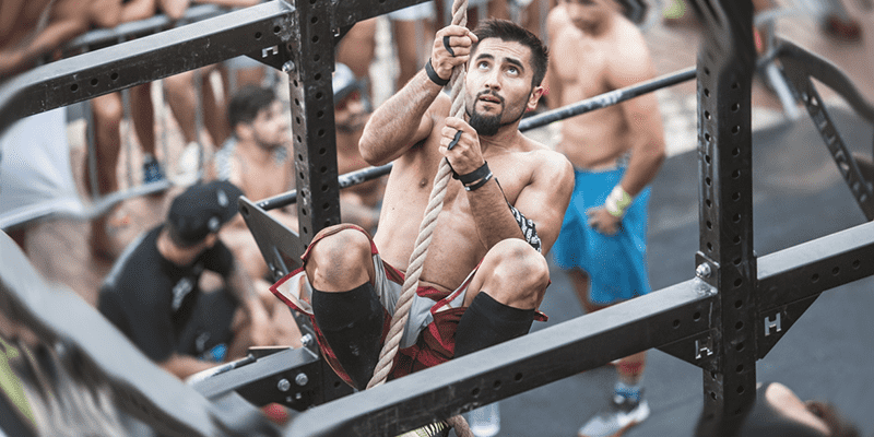 Beginner Crossfit Athletes rope climb