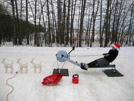 paleo christmas dinner crossfit athlete on rower