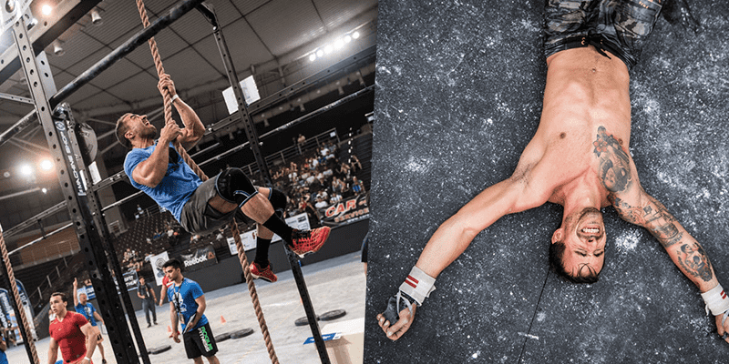 crossfit athlete rope climb
