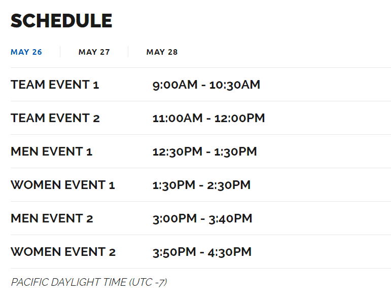 CrossFit Californian Regionals event times