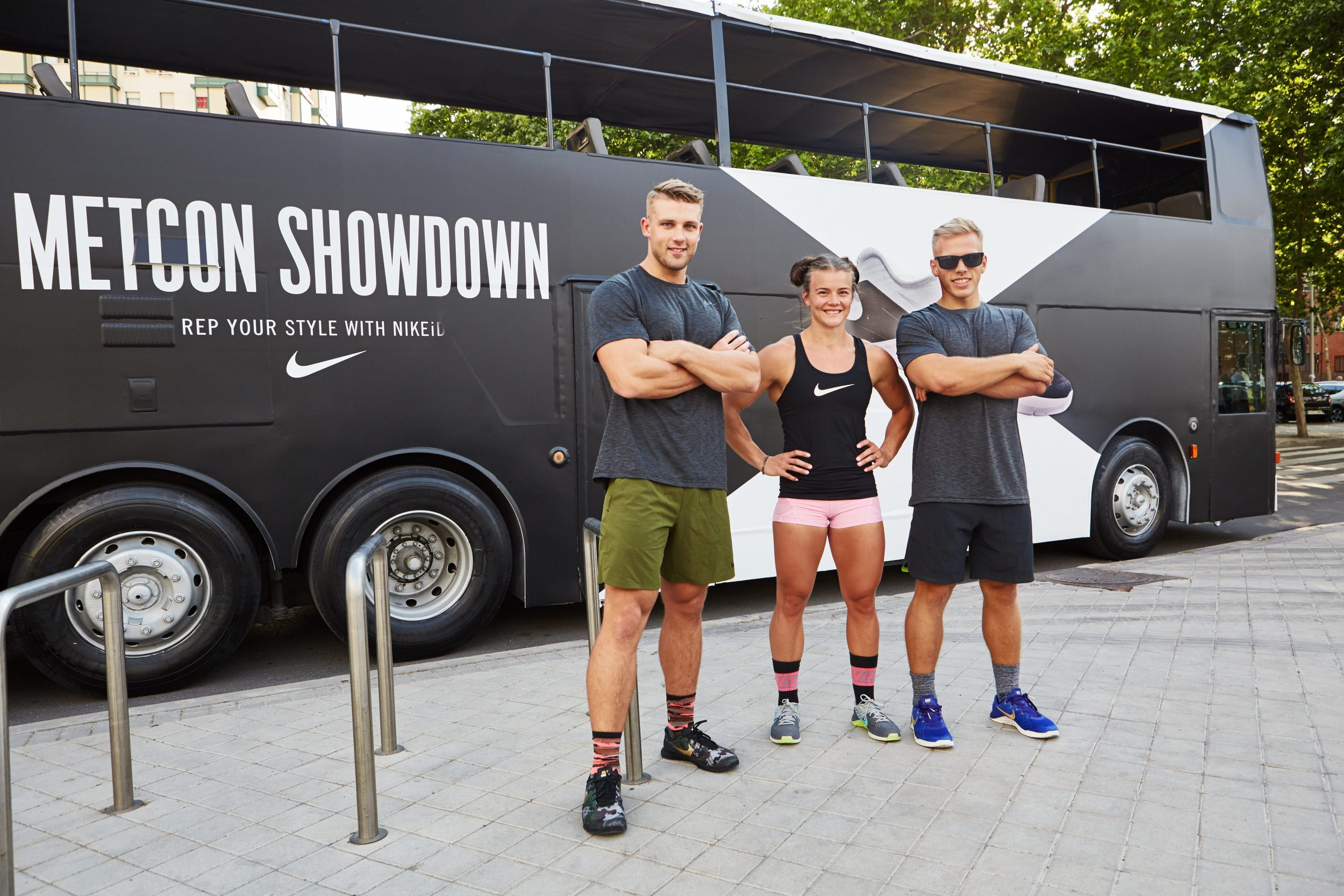 Nike Athletes outside bus
