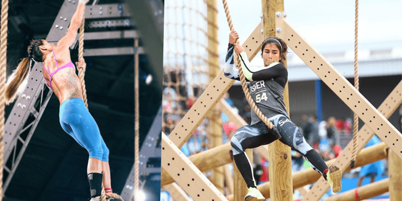 Chyna Cho and Lauren Fisher rope climbing