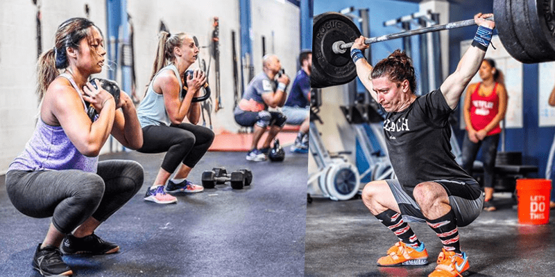 athletes squatting