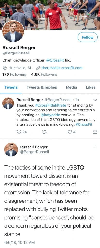 Russell Berger Has Been Fired from CrossFit HQ For Saying LGBTQ Pride is a Sin