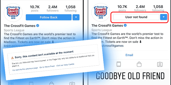 CrossFit Disappears from Instagram and Facebook