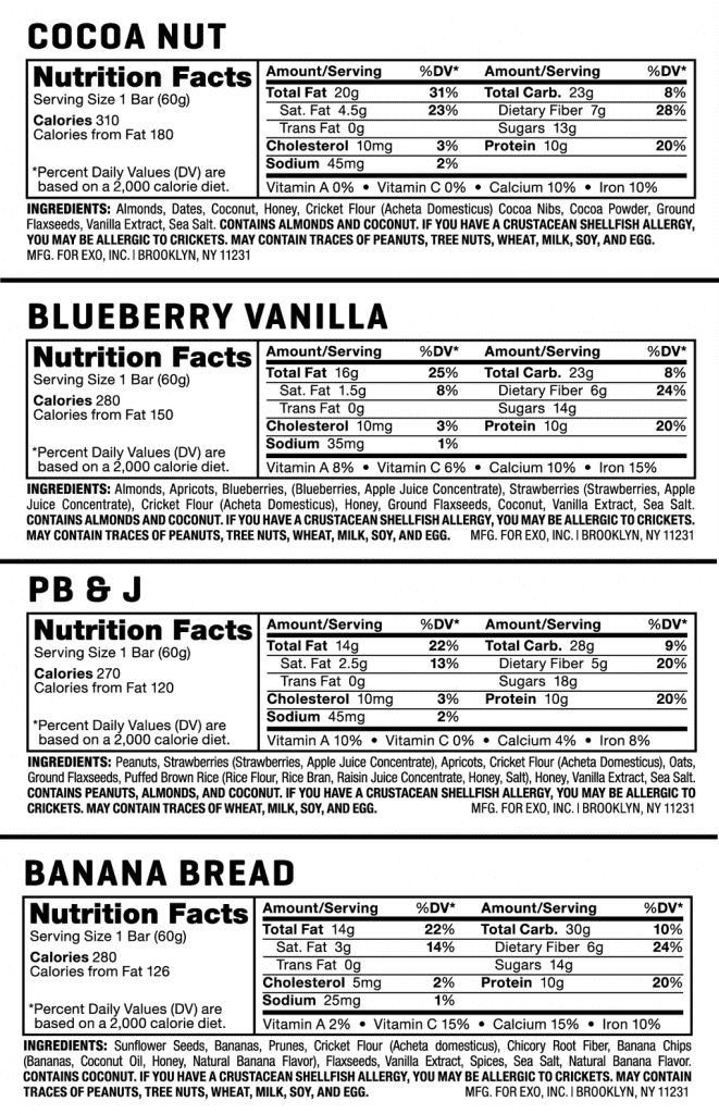 Energy Bars Ingredients