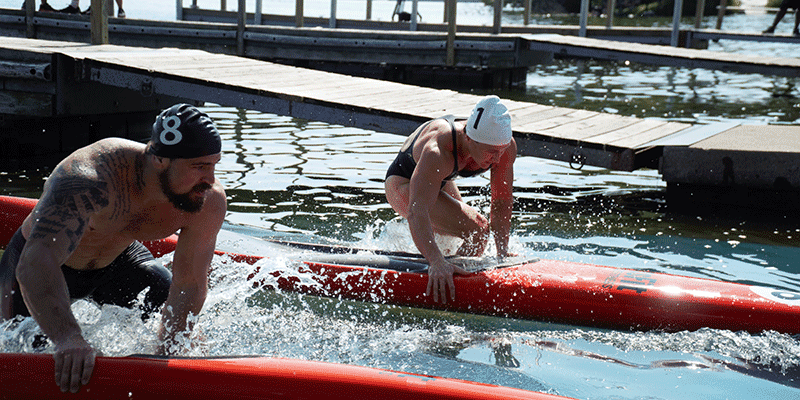 Tia-Clair Toomey Beats All the Women and ALL the Men in The Swim Paddle Event