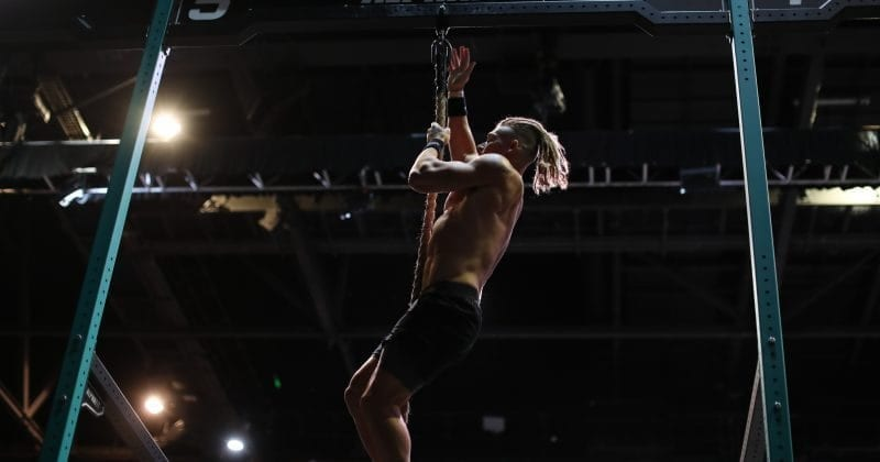 James Newbury rope climbs.